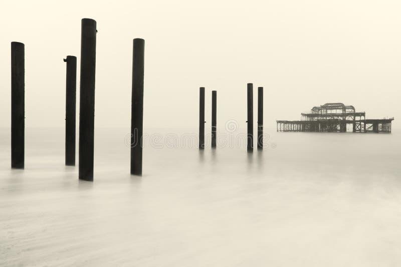 布赖顿西部码头在冬天 库存照片