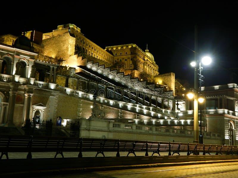 布达佩斯城堡义卖市场在夜之前 免版税库存图片