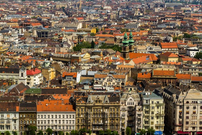布达佩斯屋顶视图  库存图片