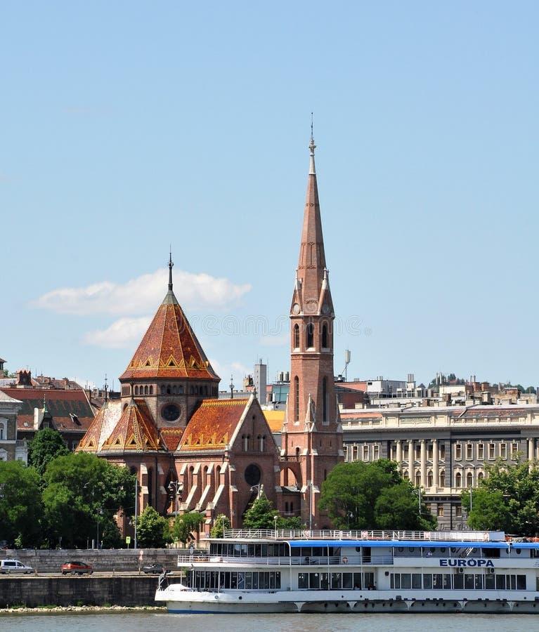 布达佩斯市内贫民区卡尔文主义教会  图库摄影