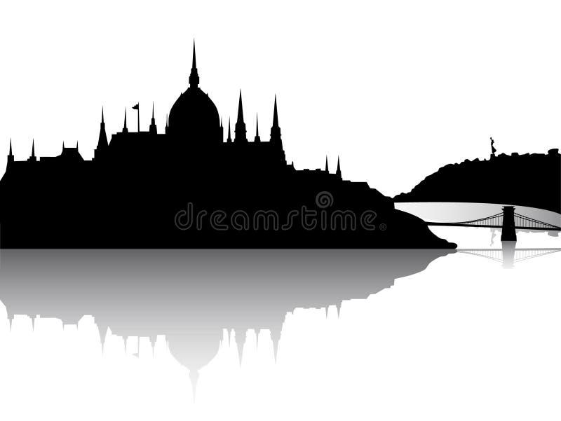 布达佩斯市反映视图 向量例证