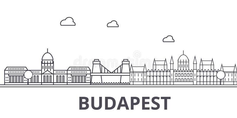 布达佩斯建筑学线地平线例证 与著名地标的线性传染媒介都市风景,城市视域,设计 皇族释放例证