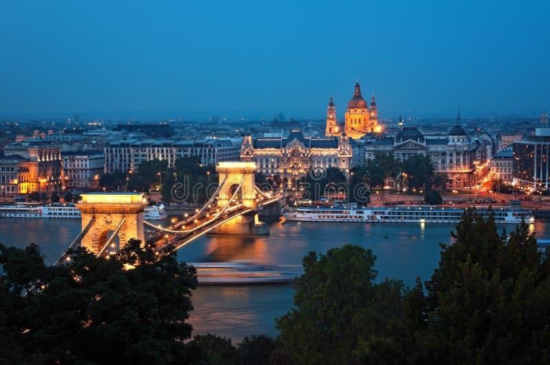 布达佩斯晚上地平线 免版税库存照片