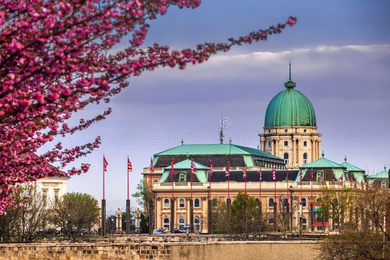布达佩斯,匈牙利-在著名布达城堡奥斯陆王宫后的黑暗的雨云在春天下午 免版税库存图片