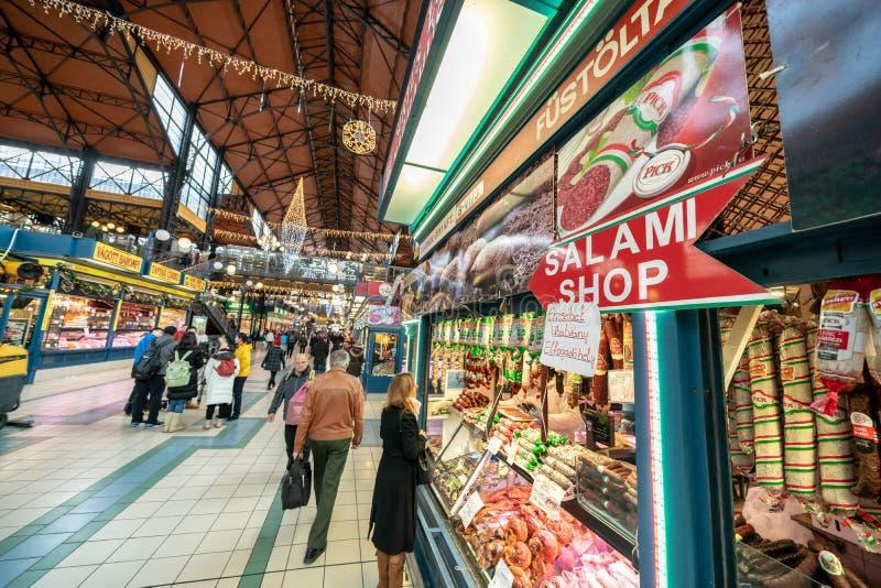 布达佩斯,匈牙利- 2017年12月:巨大市场霍尔或Cen 免版税库存图片