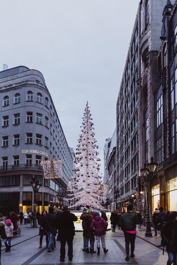布达佩斯,匈牙利- 2018年1月01日:'时尚街道'有圣诞节装饰的在布达佩斯,匈牙利 库存图片