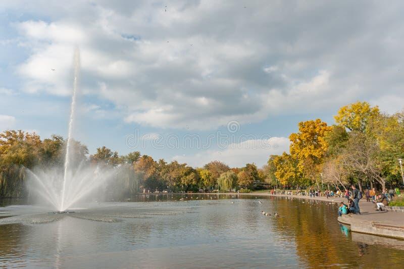 布达佩斯,匈牙利- 2015年10月26日:英雄方形的公园和喷泉 布达佩斯,匈牙利 库存照片