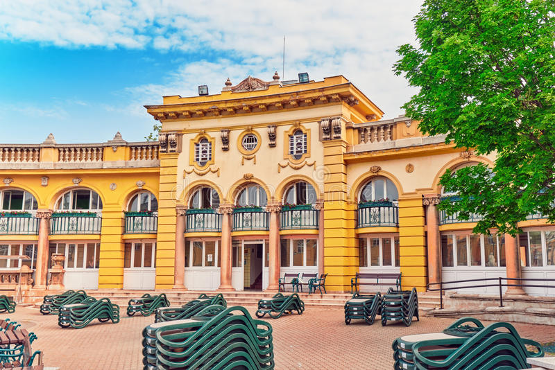 布达佩斯,匈牙利05,2016 :Szechenyi浴庭院,虎队 免版税图库摄影
