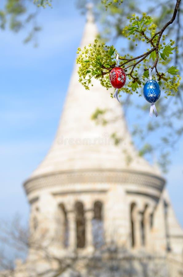 布达佩斯,复活节背景用户外鸡蛋 库存照片
