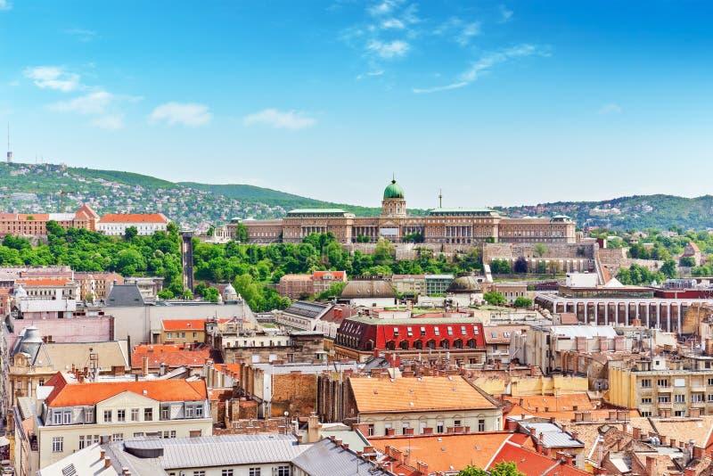 布达佩斯,布达佩斯的中心皇家城堡,从StStep的看法 免版税库存图片