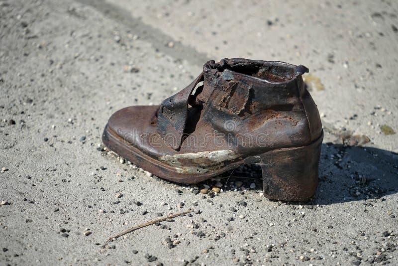 布达佩斯, HUNGARY/EUROPE - 9月21日:铁穿上鞋子纪念品 免版税库存照片