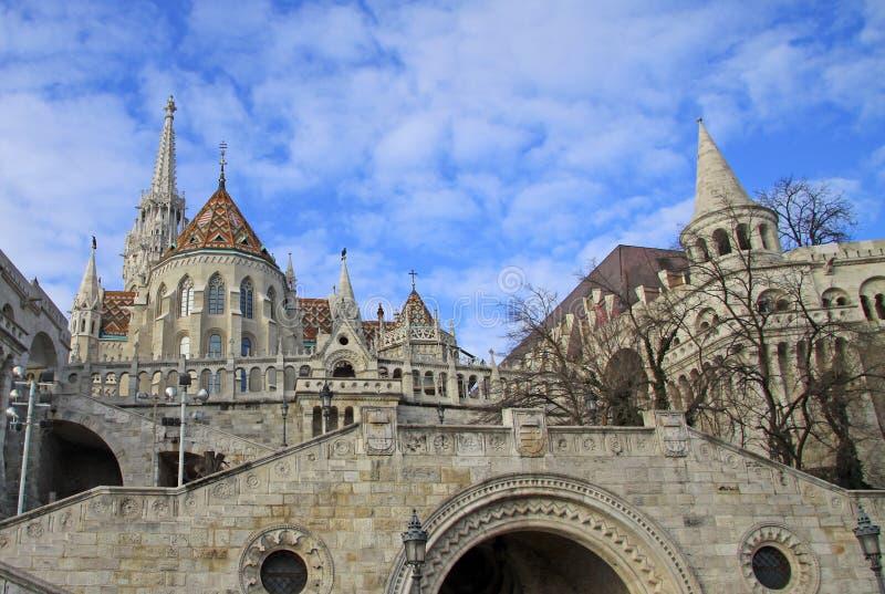 布达城堡的Fishermens本营在布达佩斯,匈牙利 免版税库存图片