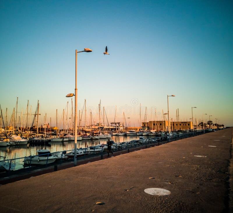 布里亚纳,西班牙12/06/18:布里亚纳小游艇船坞  库存图片