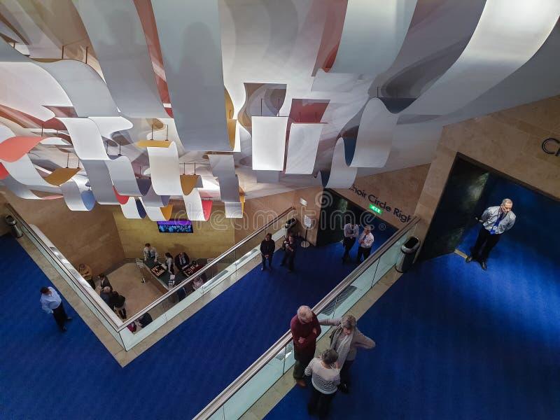 布里奇沃特霍尔的走廊的内部看法 霍尔是曼彻斯特的国际音乐会地点,被修造给 图库摄影