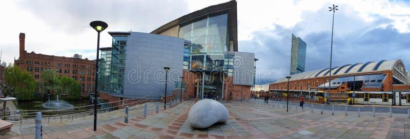 布里奇沃特面对中曼彻斯特会议中心的霍尔 布里奇沃特霍尔是一个国际音乐会地点  免版税图库摄影
