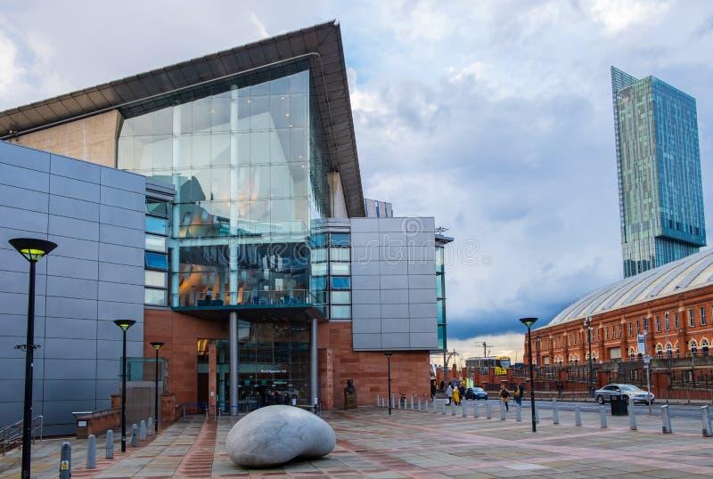 布里奇沃特面对中曼彻斯特会议中心的霍尔 布里奇沃特霍尔是一个国际音乐会地点  免版税库存照片