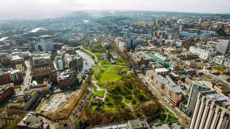 布里斯托尔市中心鸟瞰图在英国英国 免版税库存照片