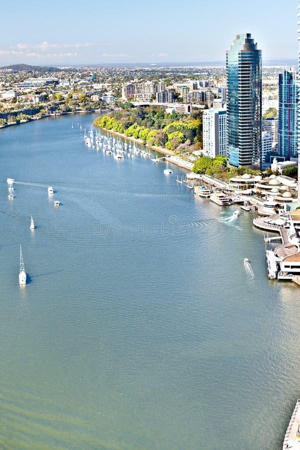 布里斯班市,昆士兰,澳大利亚包括大角度看法 免版税库存图片