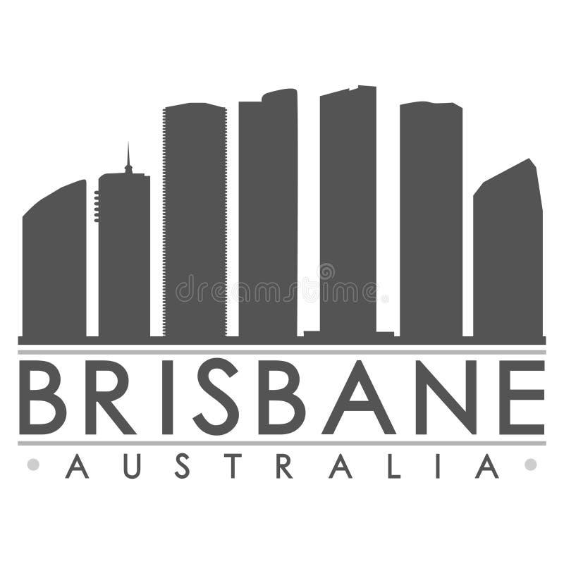 布里斯班澳大利亚澳洲象传染媒介艺术设计地平线平的城市剪影编辑可能的模板 库存例证