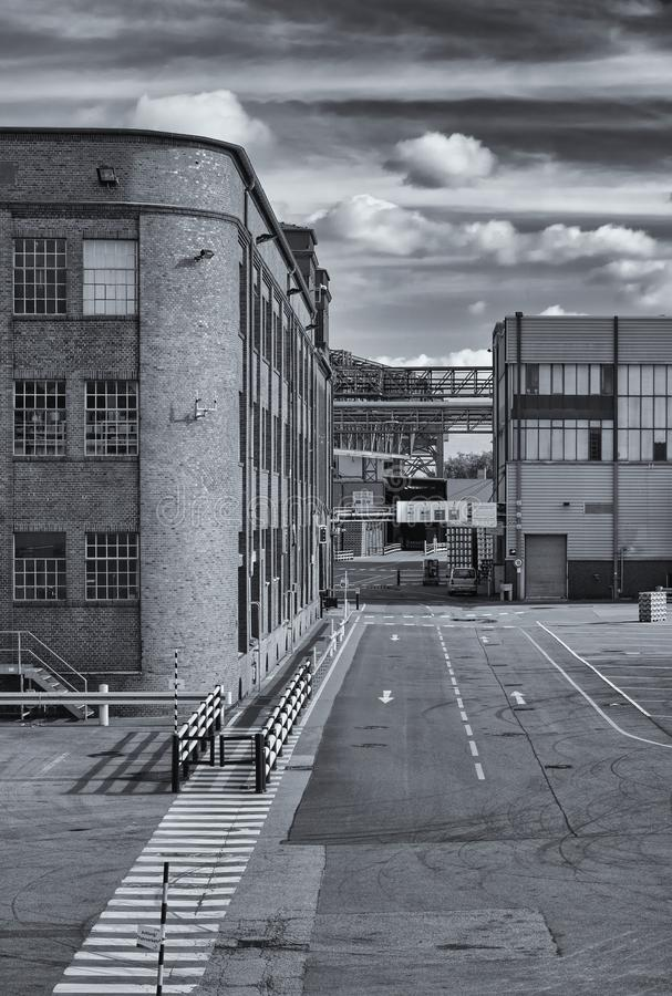 布里曼,德国- 2018年10月7日, -属于贝克` s啤酒厂的历史的砖瓦房 免版税库存照片