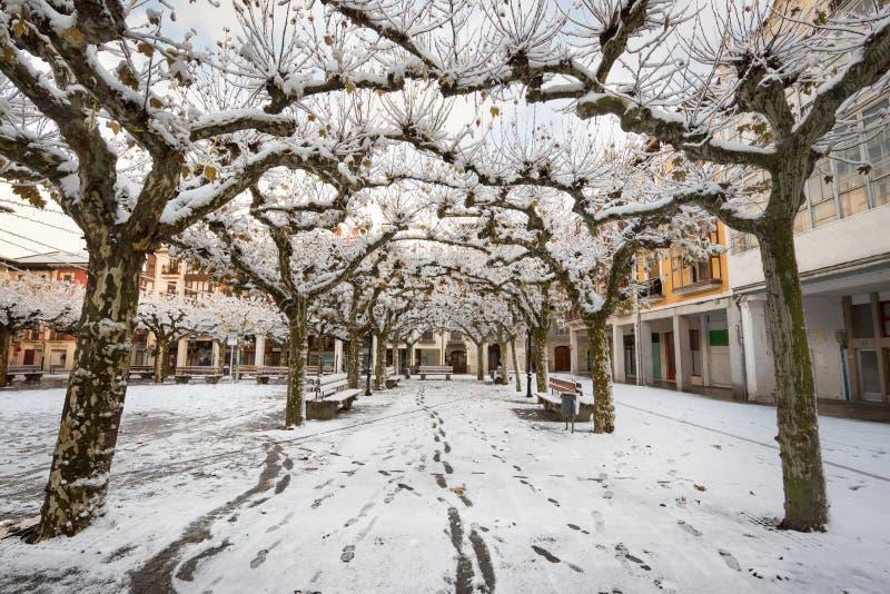 布里维耶斯卡古老村庄的一个下雪的都市风景风景的冬天场面在布尔戈斯 库存照片