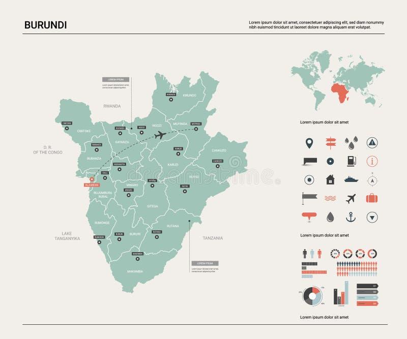 布隆迪的传染媒介地图 与分裂、城市和首都布琼布拉的高详细的国家地图 政治地图,世界地图, 向量例证