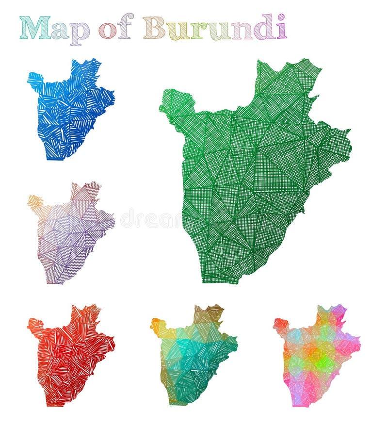 布隆迪的手拉的地图 皇族释放例证