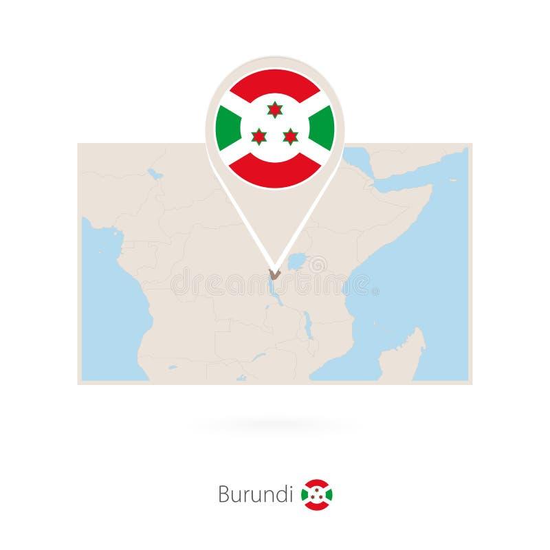 布隆迪的长方形地图有布隆迪的别针象的 库存例证