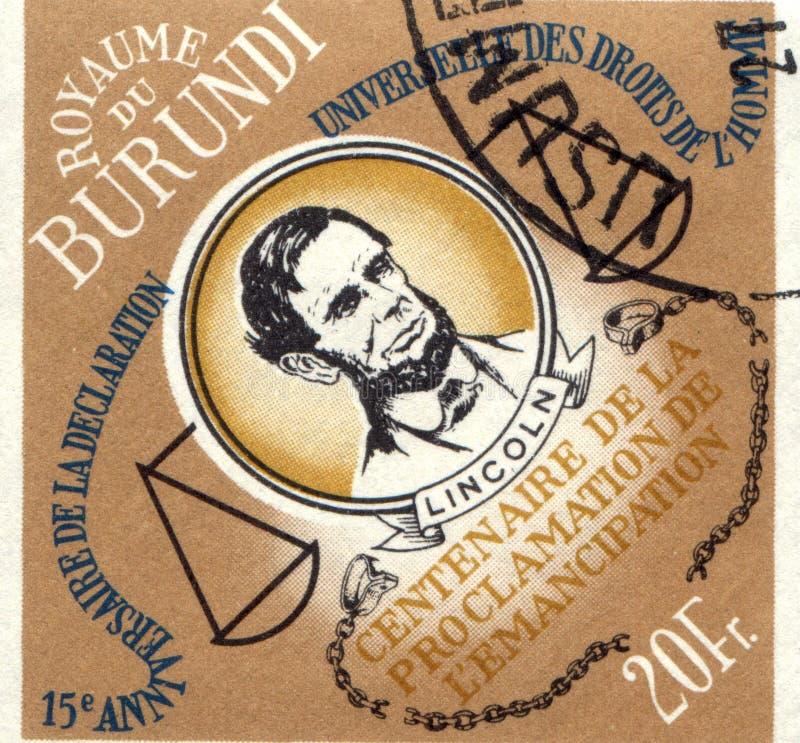 布隆迪-大约1989年:布隆迪打印的邮票,展示亚伯拉罕・林肯,大约1989年 图库摄影