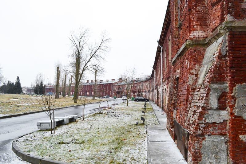 布雷斯特堡垒的墙壁在布雷斯特 免版税库存照片
