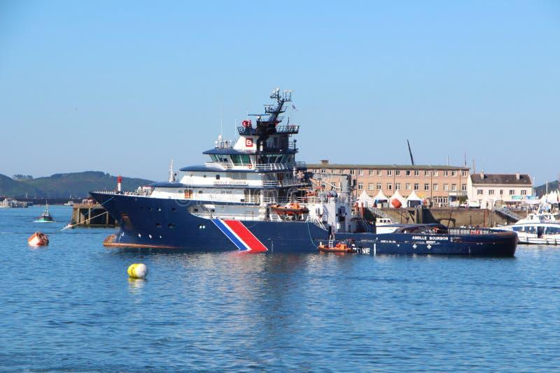 布雷斯特,法国- 7月18 :法国救助艇Abeille保守主义者 免版税图库摄影