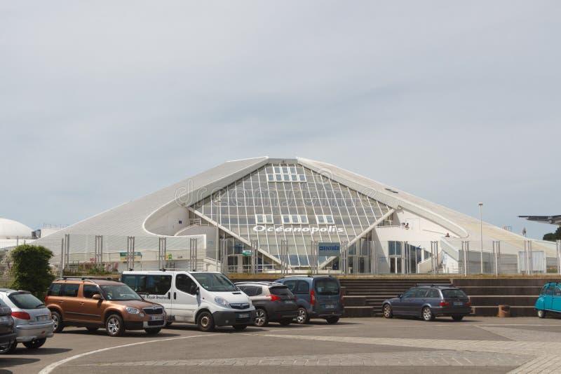 布雷斯特,法国– 6月01:Oceanopolis水族馆在布雷斯特,2019年6月01日 免版税图库摄影