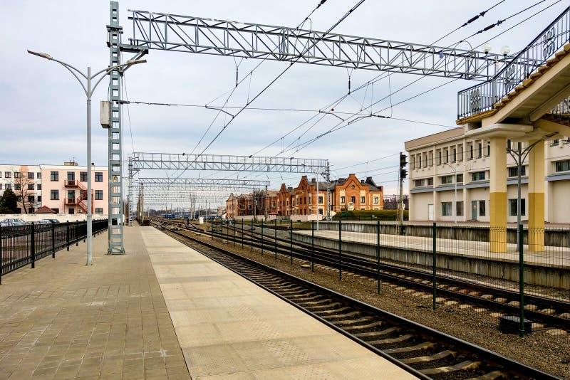 布雷斯特,白俄罗斯,2019年3月6日:火车站在布雷斯特 免版税库存图片
