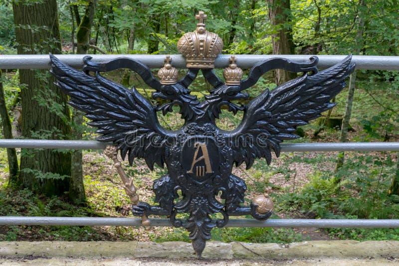 布雷斯特,白俄罗斯- 2018年7月30日:捷径, Belovezhskaya Pushcha桥梁  著名短文的主要吸引力 Alexan王朝  库存图片