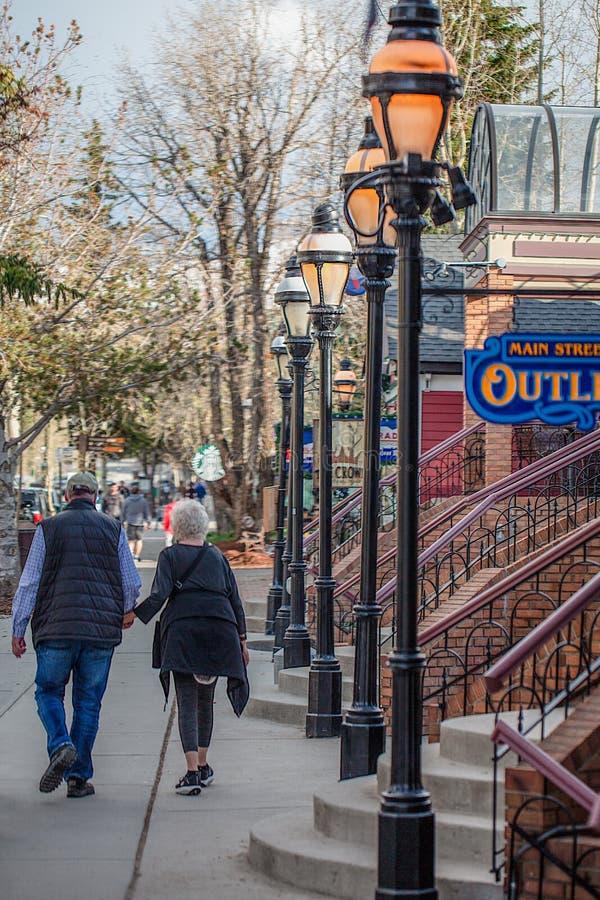 布雷肯里奇科罗拉多街市顾客和步行者 库存图片