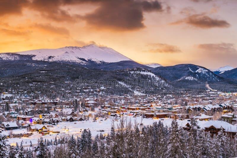 布雷肯里奇,科罗拉多,美国滑雪场镇地平线 免版税库存照片