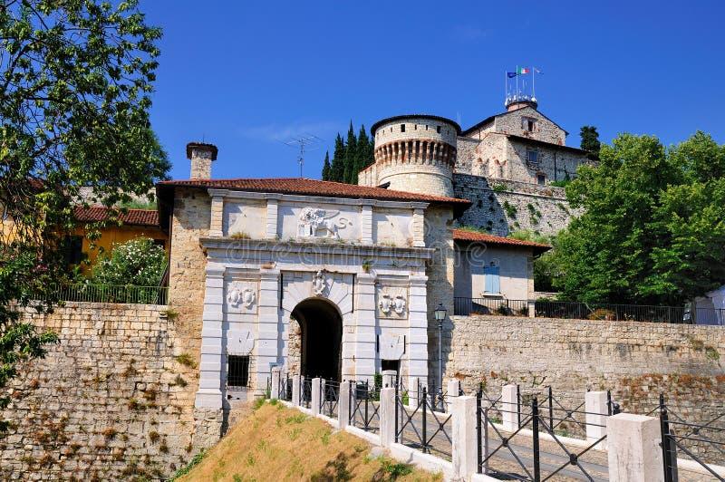 布雷西亚,意大利城堡  库存图片