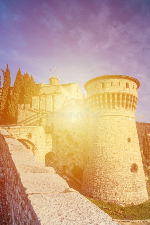 布雷西亚堡垒的墙壁  库存照片