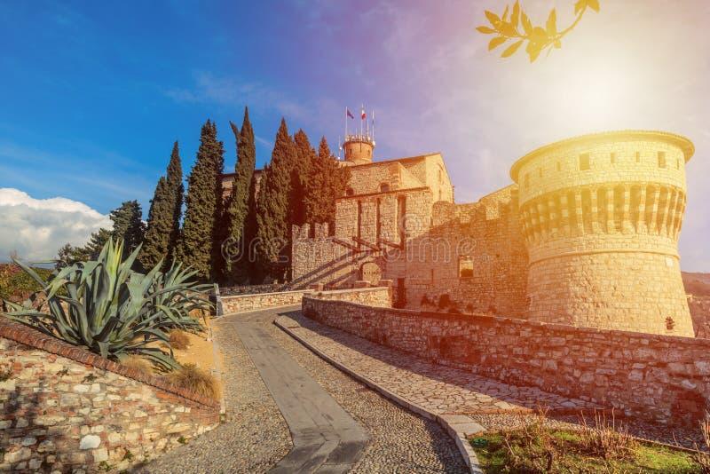布雷西亚,意大利堡垒的墙壁  库存图片
