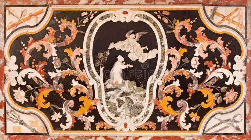 布雷西亚,意大利, 2016年:与耶稣的巴洛克式的马赛克在教会基耶萨di圣弗朗切斯科d&的x27 Gethsemane庭院里; 阿西西 向量例证
