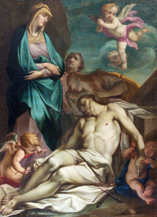 布雷西亚,意大利, 2016年:十字架或圣母怜子图的证言绘画在教会基耶萨二圣乔瓦尼Evangelista 免版税图库摄影