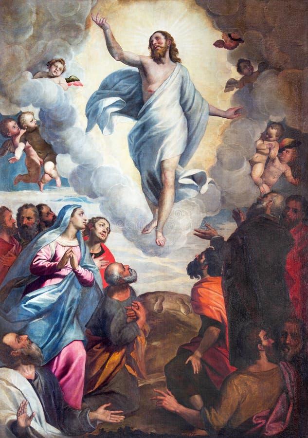 布雷西亚,意大利, 2016年:绘画耶稣升天教会基耶萨二的圣玛丽亚del Carmine 库存例证