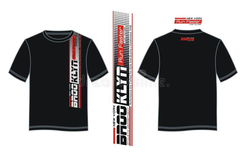 布鲁克林体育运动容易印刷术的设计分离有黑色T恤杉样品背景  库存例证