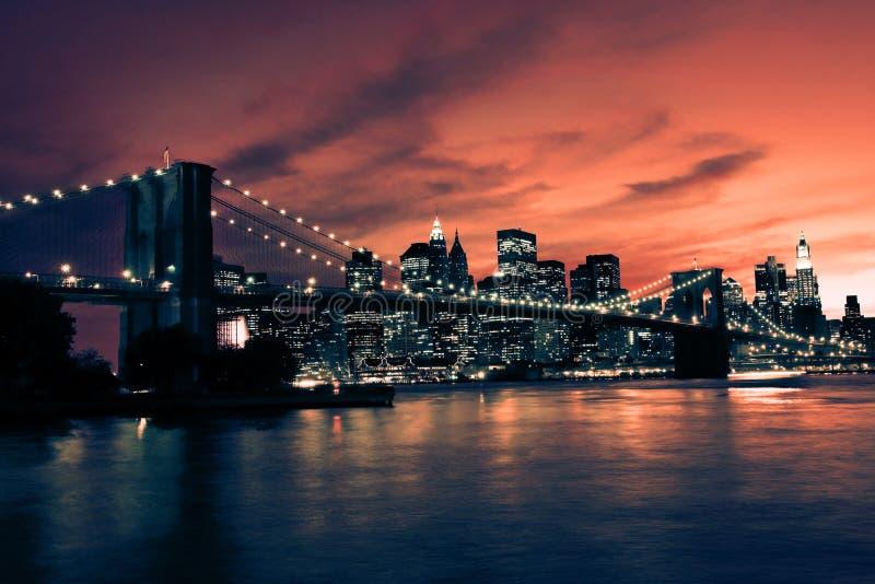 布鲁克林大桥和曼哈顿日落的,纽约 免版税库存图片