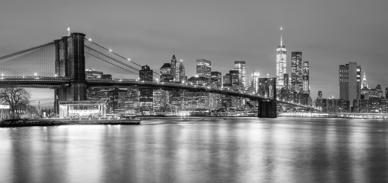 布鲁克林大桥和曼哈顿,纽约Panoramia  免版税库存图片