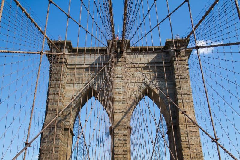 布鲁克林大桥和缆绳对称与蓝天 库存图片