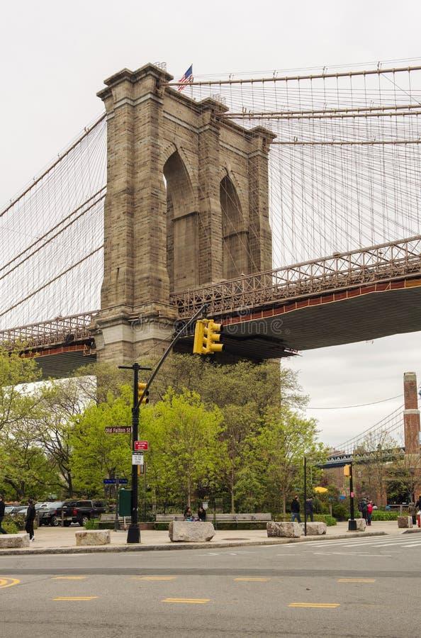 布鲁克林大桥和DUMBO 免版税库存照片