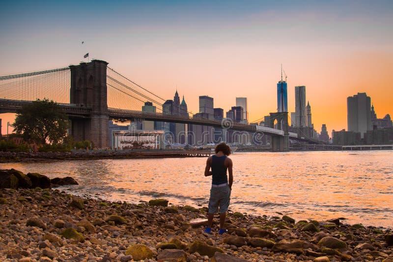 布鲁克林大桥和NYC 免版税库存照片