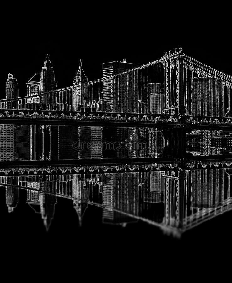 布鲁克林大桥在晚上,纽约,美国 皇族释放例证