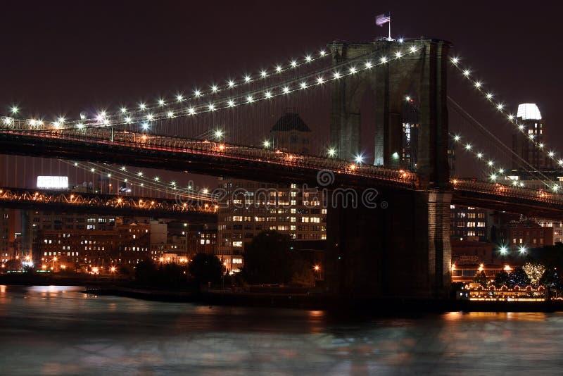 布鲁克林大桥在晚上 免费库存照片